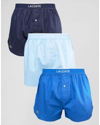 Lacoste | Blue Woven Boxers 3 Pack Multi for Men | Lyst