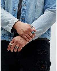 ASOS - Metallic Design Plus Chunky Ring Pack In Burnished Silver With Feather And Turquoise Stone for Men - Lyst