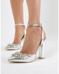 9f2f44af4ce True Decadence Silver Embellished Block Heel Shoes in Metallic - Lyst