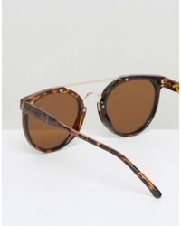 ASOS Brown Round Sunglasses In Tort With Gold Brow Bar for men