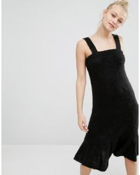 Monki - Black Super Soft Fluffy Knitted Jumper Dress - Lyst