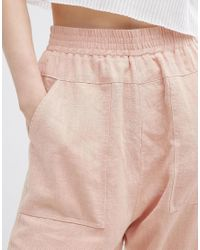 ASOS - Pink Washed Casual Straight Leg Trousers - Lyst