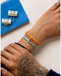 ASOS - Triple Bracelet In Yellow Teal And Orange for Men - Lyst