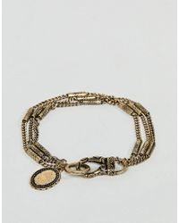 Reclaimed (vintage) - Metallic Inspired Chain Bracelet In Gold Exclusive To Asos for Men - Lyst
