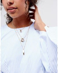 ASOS - Metallic Geo Shapes Multirow Necklace - Lyst