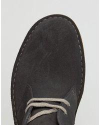 Clarks - Gray Clarks Suede Desert Boots for Men - Lyst