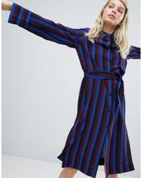 Monki - Blue Tie Front Striped Shirt Dress - Lyst