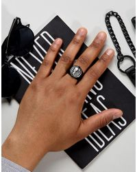 Icon Brand - Skull Signet Ring In Matte Black for Men - Lyst