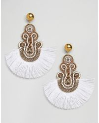 ASOS - Metallic Embroidered Tassel Earrings - Lyst
