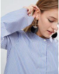 ASOS - Metallic Statement Disc And Bar Earrings - Lyst