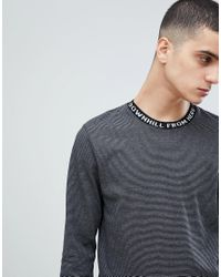 Huf - Striped Long Sleeve T-shirt With Jacquard Neckline In Black for Men - Lyst