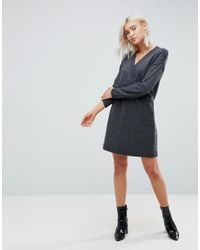 ASOS DESIGN - Gray Asos Chunky Knitted Dress With Wrap Detail - Lyst