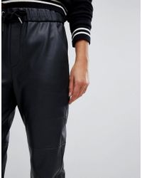 Esprit - Black Faux Leather Jogger Pant - Lyst