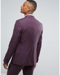 ASOS - Tall Skinny Suit Jacket In 100% Wool In Dusky Purple for Men - Lyst