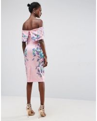 ASOS - Pink Trailing Placed Floral Deep Fold Bardot Midi Dress - Lyst