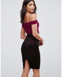 AX Paris - Purple Lace Detail Midi Dress - Lyst