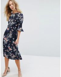 849f12e3ed9f Oasis Floral Fluted Sleeve Midi Dress in Blue - Lyst