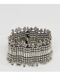 ASOS - Metallic Asos Design Curve Exclusive Burnished Bead Stretch Bracelet - Lyst