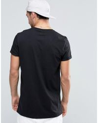 ASOS - Longline T-shirt With Roll Sleeve In Black for Men - Lyst