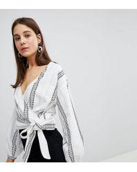 0725dee19bee57 New Look Dash Stripe Tie Side Blouse in White - Lyst
