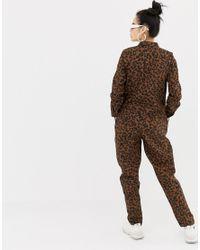 Daisy Street - Brown Button Through Boiler Suit In Leopard Print - Lyst
