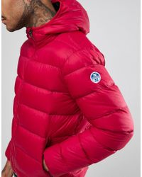 North Sails | Hooded Down Puffer Jacket In Red for Men | Lyst