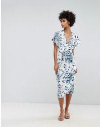 Warehouse - Blue Full Bloom Wrap Dress - Lyst