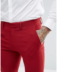 ASOS - Super Skinny Fit Suit Trousers In Red for Men - Lyst