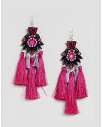 ASOS DESIGN - Pink Statement Embroidered Stone Tassel Earrings - Lyst