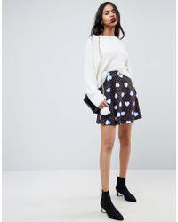ASOS - Blue Asos Mini Skater Skirt In Heart Print - Lyst