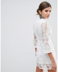 Boohoo - White Embroidered Mesh Tiered Lace Dress - Lyst