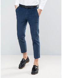 ASOS - Green Skinny Crop Smart Pants In Teal Cord for Men - Lyst
