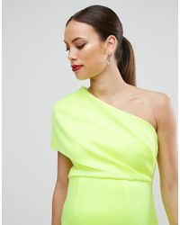 ASOS - Yellow One Shoulder Scuba Deep Fold Midi Dress With Exposed Zip - Lyst