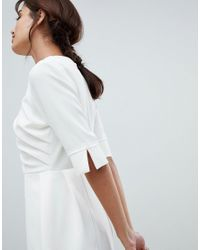 Vesper - White 3/4 Sleeve Pencil Dress With Ruched Side - Lyst