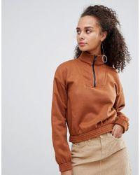 Bershka - Brown Zip Front Sweat - Lyst