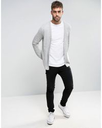 ASOS - Gray Longline Open Cardigan In Cable With Rib Detail for Men - Lyst
