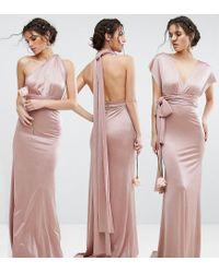 TFNC London - Pink Wedding Multiway Maxi Dress In Sheen - Lyst