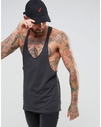 ASOS - Black Tank With Raw Edge Extreme Racer Back for Men - Lyst