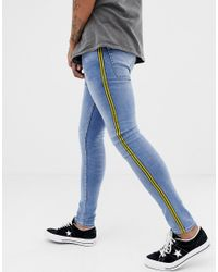509861ef5839 New Look Super Skinny Jeans With Mustard Side Stripe In Blue Wash in ...