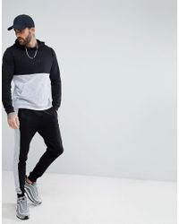 ASOS - Black Hoodie With Nep Panel for Men - Lyst