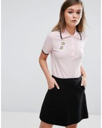 Fred Perry | Pink Bella Freud Star Embroidered Polo | Lyst