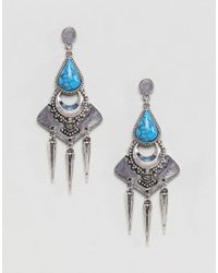 ASOS - Multicolor Design Faux Turquoise Engraved Plate Earrings - Lyst