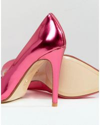 Dune - Pink Aiyana Metallic Pointed Heeled Shoes - Lyst