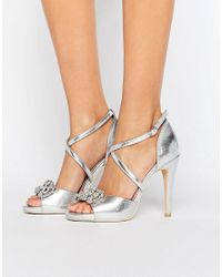 4a3b7237e86a True Decadence Embellished Cross Strap Heeled Sandals in Metallic - Lyst