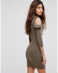 Be Jealous - Green Cold Shoulder Dress With Frill Detail - Lyst