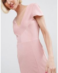 ASOS - Pink Seamed Structured Rib Mini Bodycon Dress With V Neck - Lyst