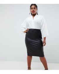68cdbf1b7812 ASOS Asos Design Curve Leather Look Pencil Skirt in Black - Lyst