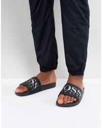 BOSS - Boss Logo Silders In Black for Men - Lyst