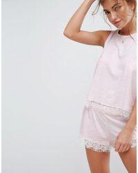 ASOS - Pink Eyelash Lace Trim Neppy Tank & Short Pajama Set - Lyst