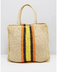 Warehouse - Natural Slouchy Straw Tote Bag - Lyst